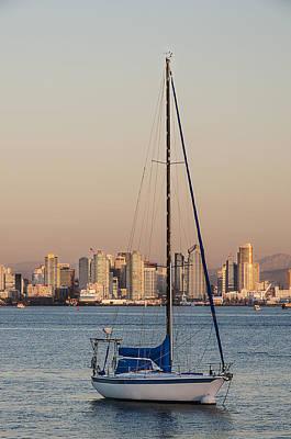 Photograph - Sailboat San Diego Skyline by Lee Kirchhevel