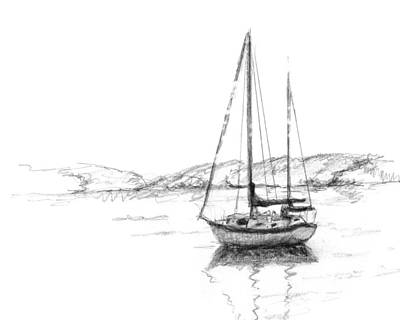 Corporate Art Drawing - Sailboat by Sarah Parks