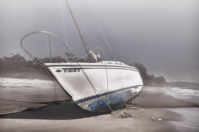 Photograph - Sailboat Shipwreck In The Fog by Ken Smith