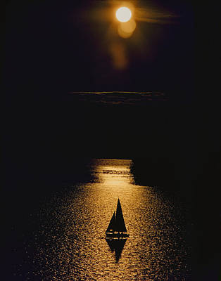 Sailboat Photograph - Sailboat Silhouette by Larry Kjorvestad