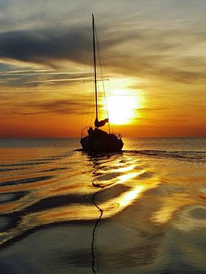 Sailboat Sunset 2 Pamlico Sound 2 4/24 Art Print