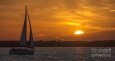 Sunset Sailing Photograph - Sailboat Sunset  by Dustin K Ryan
