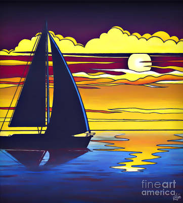 Painting - Sailboat Sunset by Walt Foegelle