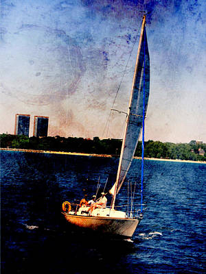 Lake Michigan Digital Art - Sailboat Tilted Towers W Metal by Anita Burgermeister