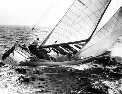 Sailboat Photograph - Sailboat Turning by Retro Images Archive