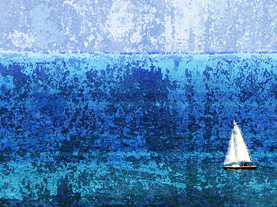 Digital Art - Sailboat W Texture by Anita Burgermeister