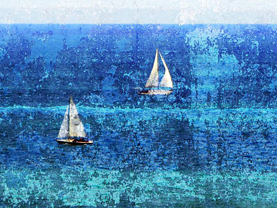 Digital Art - Sailboats 2 W Texture by Anita Burgermeister