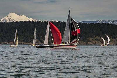 Sailboats And Mt Baker Art Print by Tony Locke