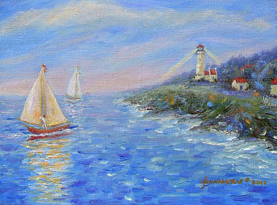 Sailboats At Heceta Head Lighthouse Art Print by Glenna McRae