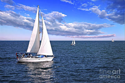 Colorful Boats Wall Art - Photograph - Sailboats At Sea by Elena Elisseeva