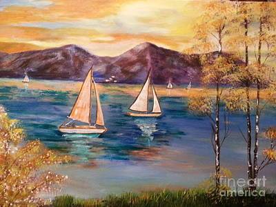 Phthalo Blue Painting - Sailboats At Summer by Ordy Duker