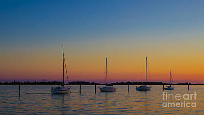 Sailboats At Sunset Clinton Connecticut Art Print by Edward Fielding