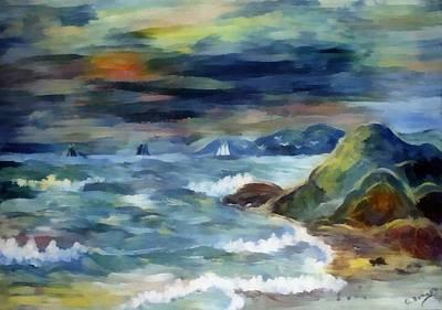 Boating Digital Art - Sailboats At Sunset by G Bonney
