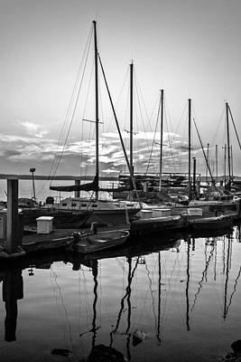 Photograph - Sailboats At Sunset In Morro Bay Marina Black And White Fine Art Photography Print by Jerry Cowart