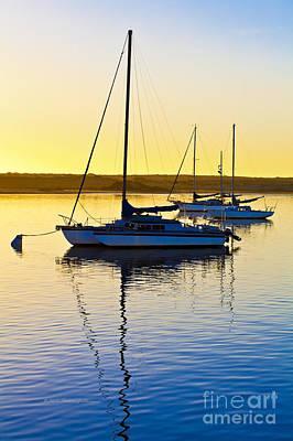 Photograph - Sailboats At Sunset by Richard J Thompson