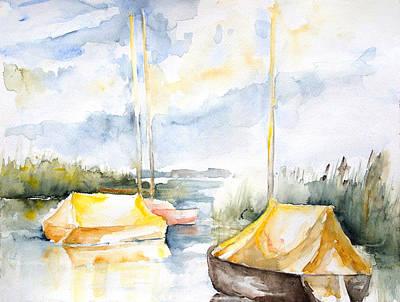 Sailboats Awakening Art Print by Barbara Pommerenke