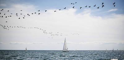 Sailboats Cruise The Waters Of Lake Art Print by James MacDonald
