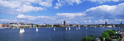 Sailboats In A Lake With The City Hall Art Print by Panoramic Images