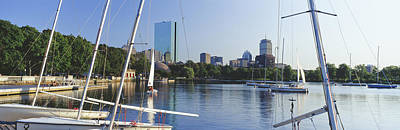 Sailboats In A River With City Art Print by Panoramic Images