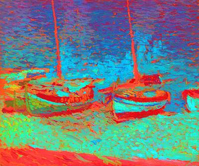 Sailboats In Port Collioure IIi Painted Art Print by Henri Martin - L Brown