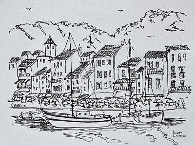 Sailboats In The Harbor, Cassis, France Art Print