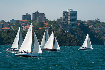 Sydney Vacation Photograph - Sailboats In The Sea With City by Panoramic Images