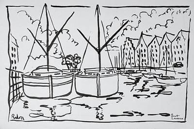 Sailboats Moored On The La Vilaine Art Print