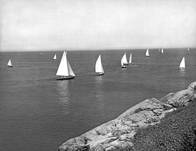Photograph - Sailboats On A Calm Day. by Underwood Archives