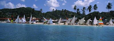 Sailboats On The Beach, Grenada Sailing Art Print by Panoramic Images
