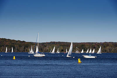 Sailboats On The Connecticut River Art Print