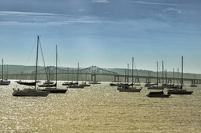 Hudson Photograph - Sailboats On The Hudson - Tappan Zee Bridge by Bill Cannon