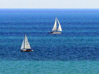 Photograph - Sailboats Passing 1 by Anita Burgermeister