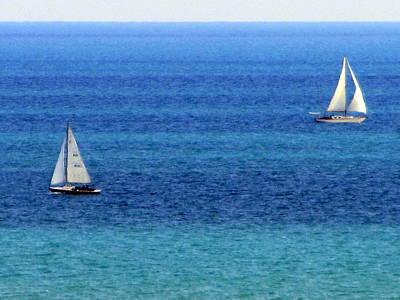 Photograph - Sailboats Passing 2 by Anita Burgermeister