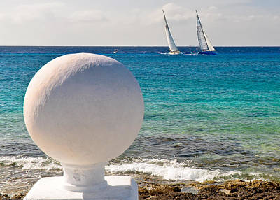 Sailboats Racing In Cozumel Art Print by Mitchell R Grosky