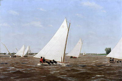 Sailboats Racing On The Delaware Painting - Sailboats Racing On The Delaware by Thomas Eakins