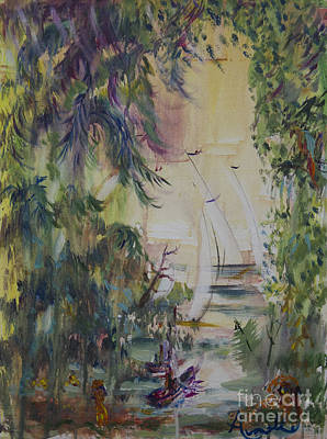 Sailboats Through The Trees Original by Avonelle Kelsey