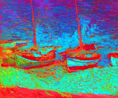 Sailboats In Port Collioure Xii Art Print by Henri Martin - L Brown