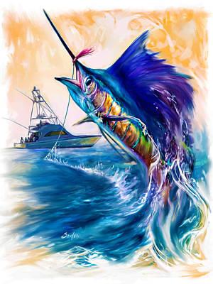 Swordfish Mixed Media - Sailfish And Sportfisher Art by Savlen Art