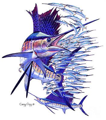 Sailfish Ballyhoo Art Print by Carey Chen