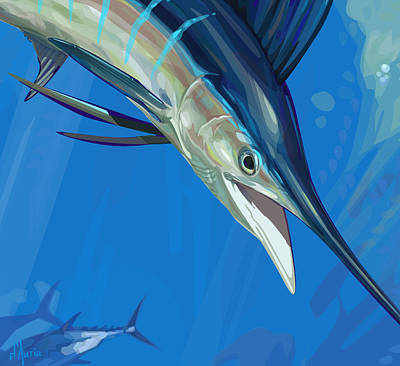 Swordfish Wall Art - Digital Art - Sailfish Detail by Tom Dauria