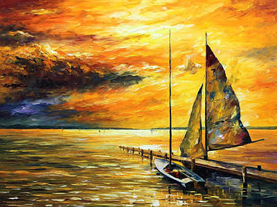 Sailfish - Palette Knife Seascape Sailboat Oil Painting On Canvas By Leonid Afremov Original by Leonid Afremov