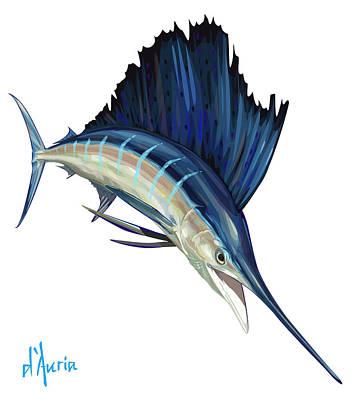 Swordfish Digital Art - Sailfish by Tom Dauria