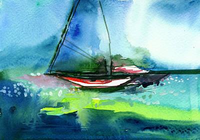 Beautiful Scenery Painting - Sailing 2 by Anil Nene