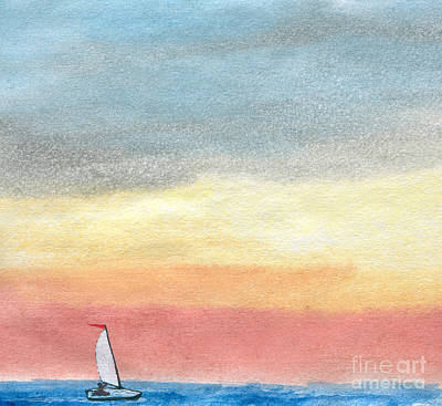 Blue Bouys Painting - Sailing 2  by R Kyllo