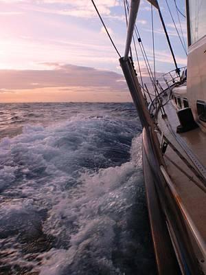 Sailing At Early Sunset Art Print