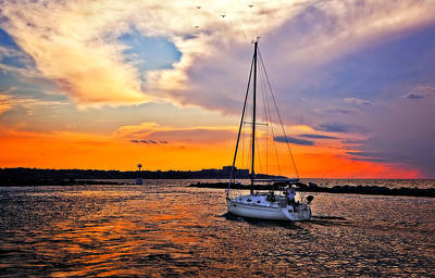 Best Sailing Photograph - Sailing At Sunset Cleveland Harbor by Marcia Colelli
