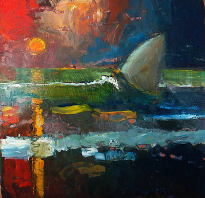 Painting - Sailing At Sunset by Daniel Bonnell