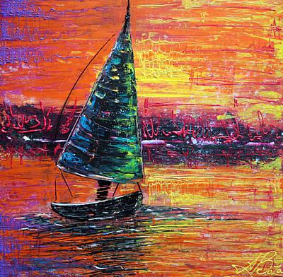 Summer Fun Painting - Sailing At Sunset by Laura Barbosa