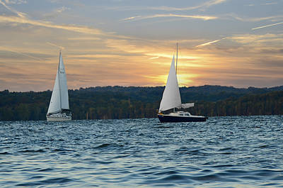 Percy Priest Lake Photograph - Sailing At Sunset by Steven Michael