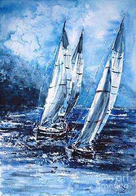 Painting - Sailing Away From The Storm by Zaira Dzhaubaeva